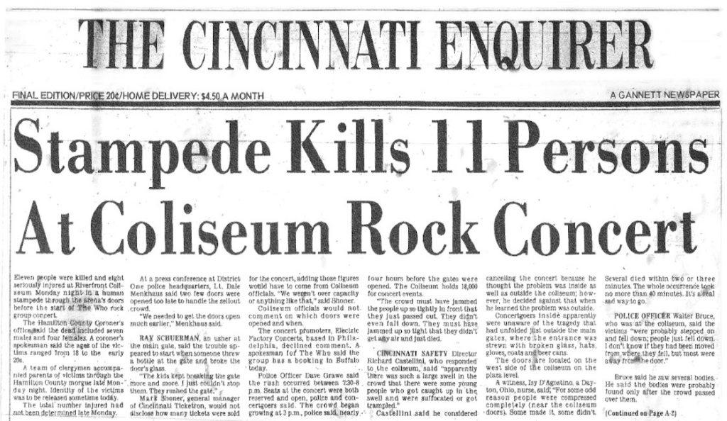 Tragedija u Cincinnatiju!<br>Prosinac – 1979.