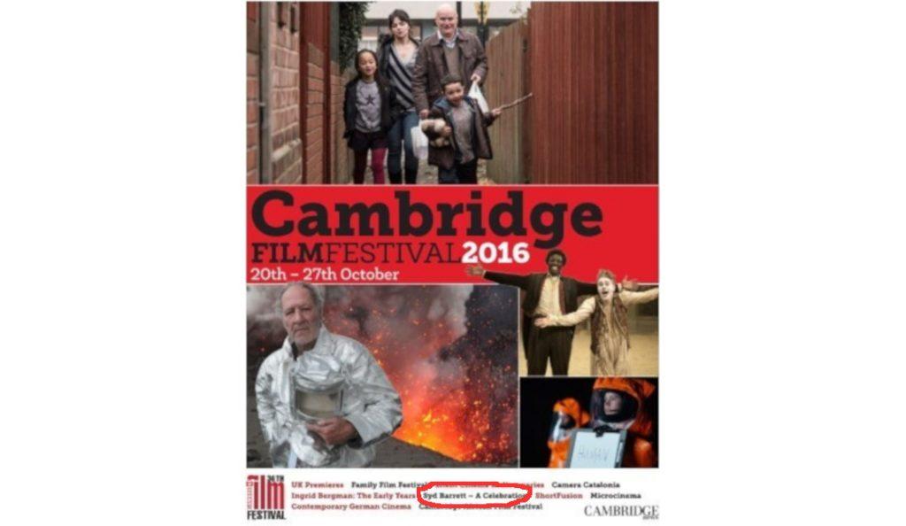 Cambridge Film Festival & Syd Barrett!<br>21. Listopada – 2016.